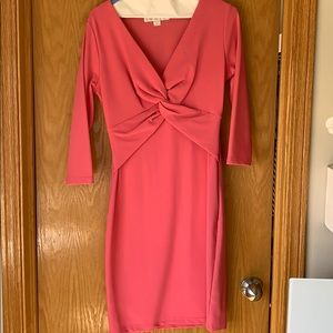 Boston Proper Dresses - Pink fitted dress with front knot detail.